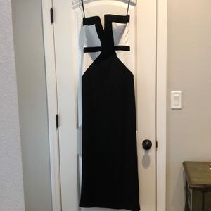 Black and white formal long dress—worn once